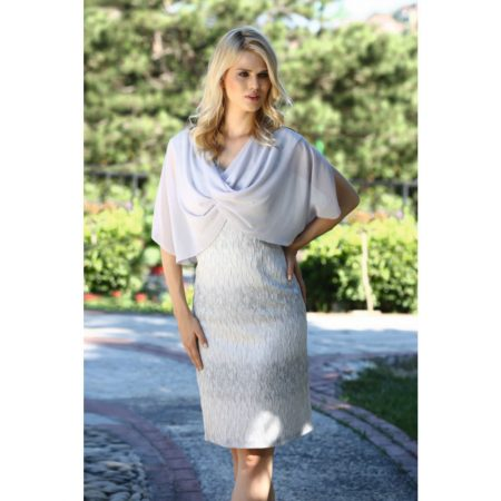 Lizabella Silver Chiffon Cape Dress