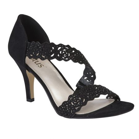 Lotus Cattleya Black Micro-Fibre Heels