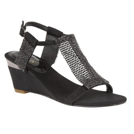 Lotus Klaudia Black Chainmail Sandals