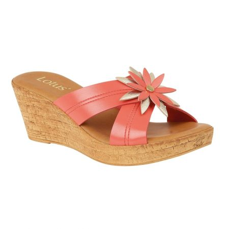 Lotus Japonica Coral Mule Wedge Sandals