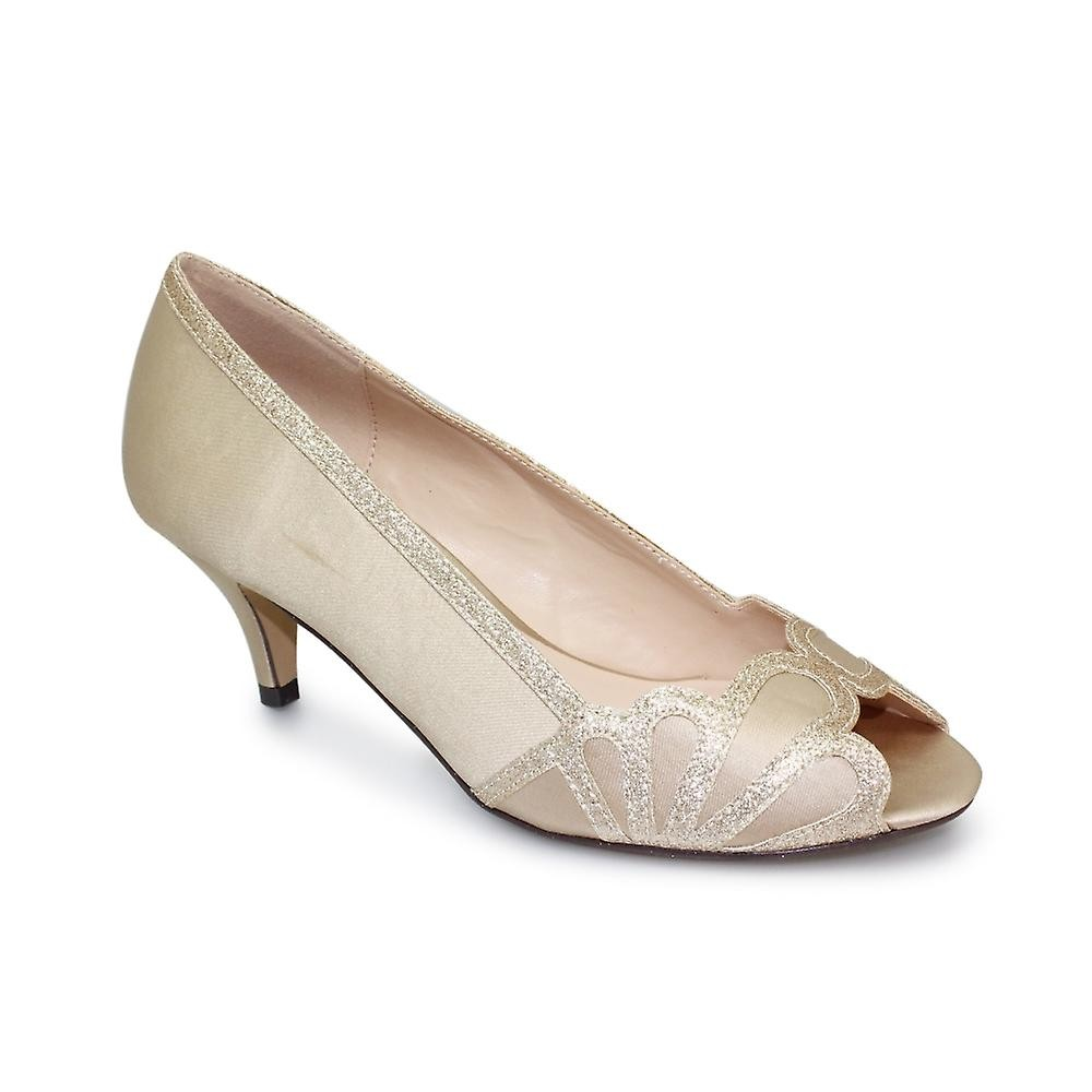 ffe6d2d0c6 Lunar Dalia Champagne Satin Kitten Heels - Brooks Shops