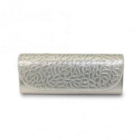 Lunar Denton Metallic Silver Evening Bag