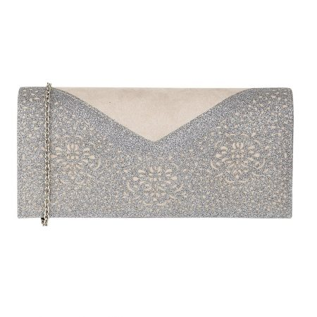 Lotus Fidda Grey Pewter Glitter Evening Bag