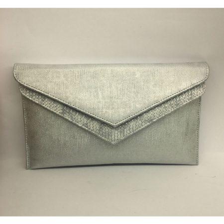 Capollini Luanne Silver Leather Evening Bag