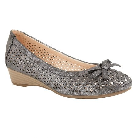 Lotus Button Metallic Pewter Wedge Shoes