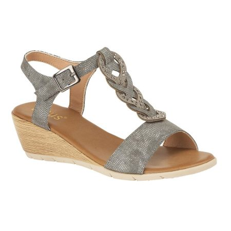 Lotus Orta Pewter Wedge Sandals