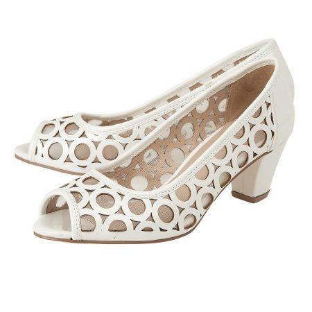 Lotus Filbert White Patent Mid Heels
