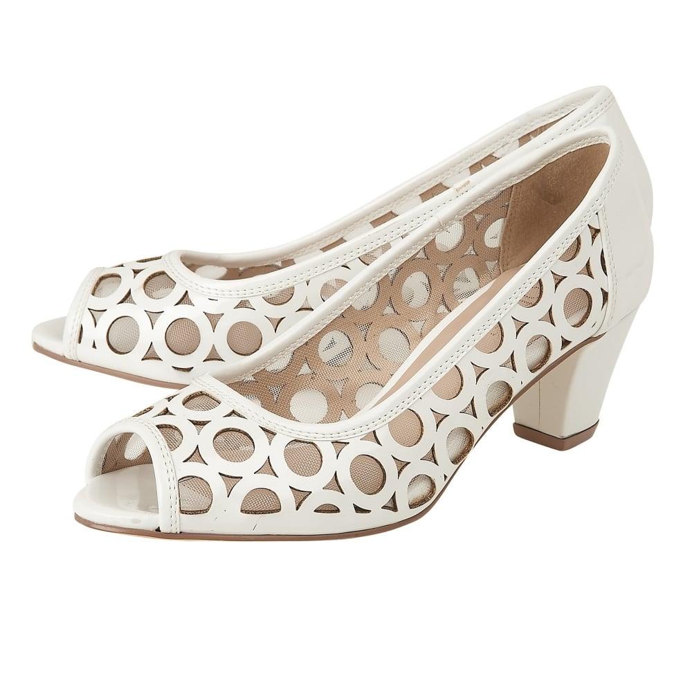 White patent 'Filbert' mid block heel peep toe shoes discount best prices FESAXp