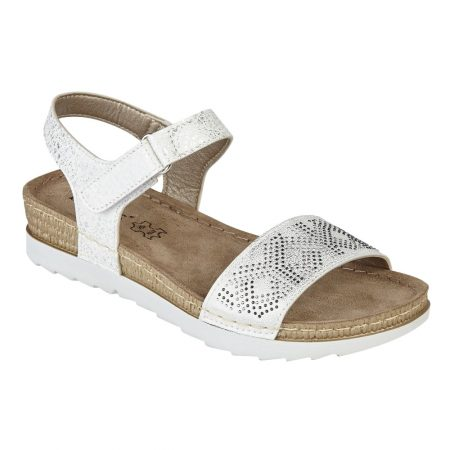 Lotus Santi White Diamante Sandals