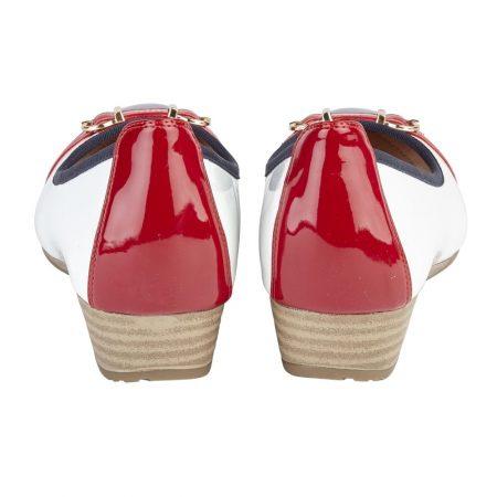 Lotus Bisera White Nautical Wedge Shoes