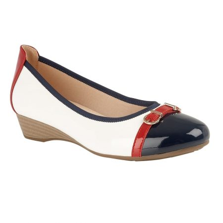 Lotus Bisera White Nautical Wedge Shoes