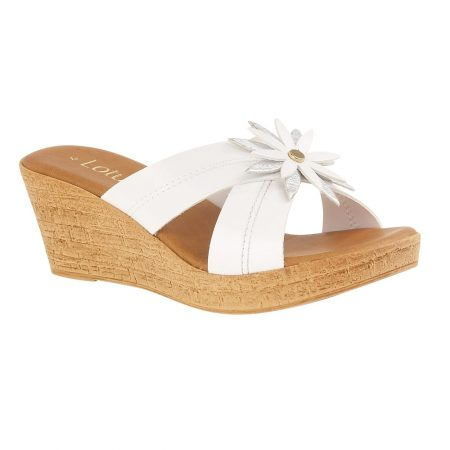 Lotus Japonica White Mule Wedge Sandals