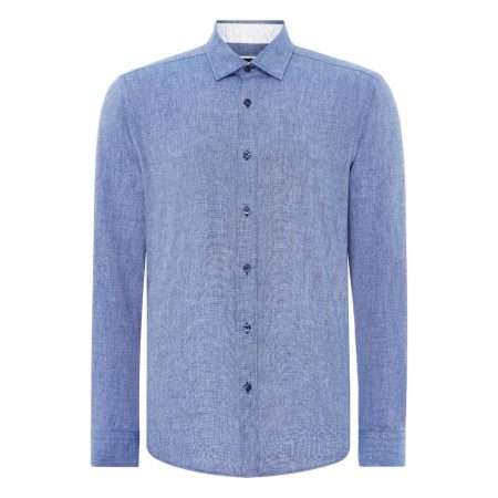 Remus Uomo Blue Seville Long Sleeve Casual Shirt