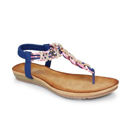 Lunar Antigua Navy Toe Post Sandals