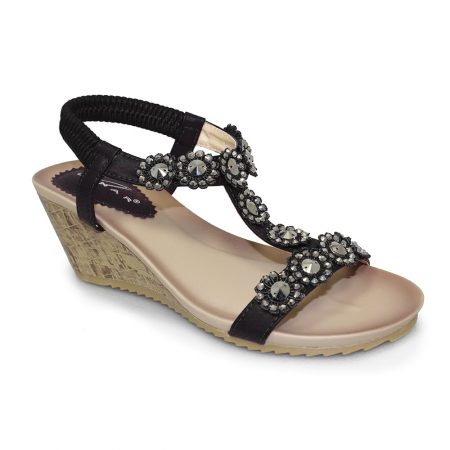 Lunar Cally Black Floral Wedge Sandals