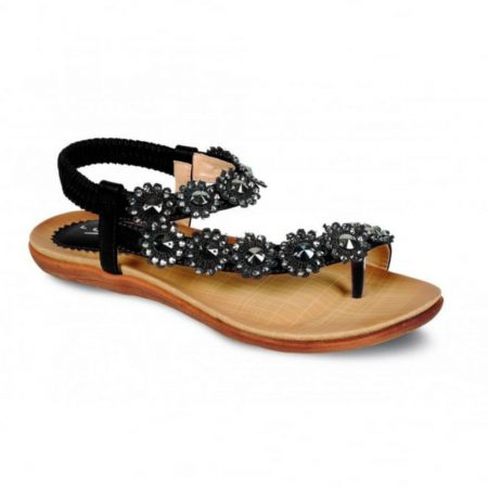 Lunar Charlotte Black Toe Post Sandals