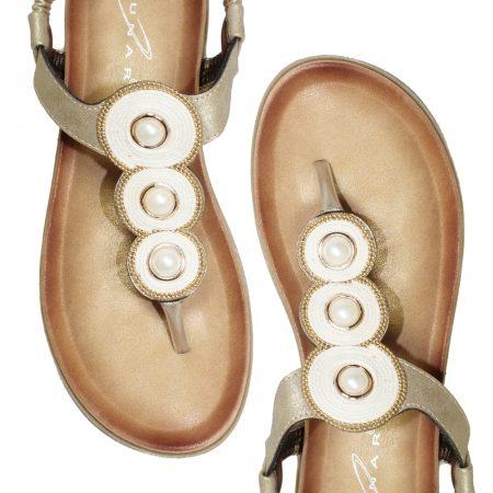 Lunar Cleo Gold Toe Post Sandals