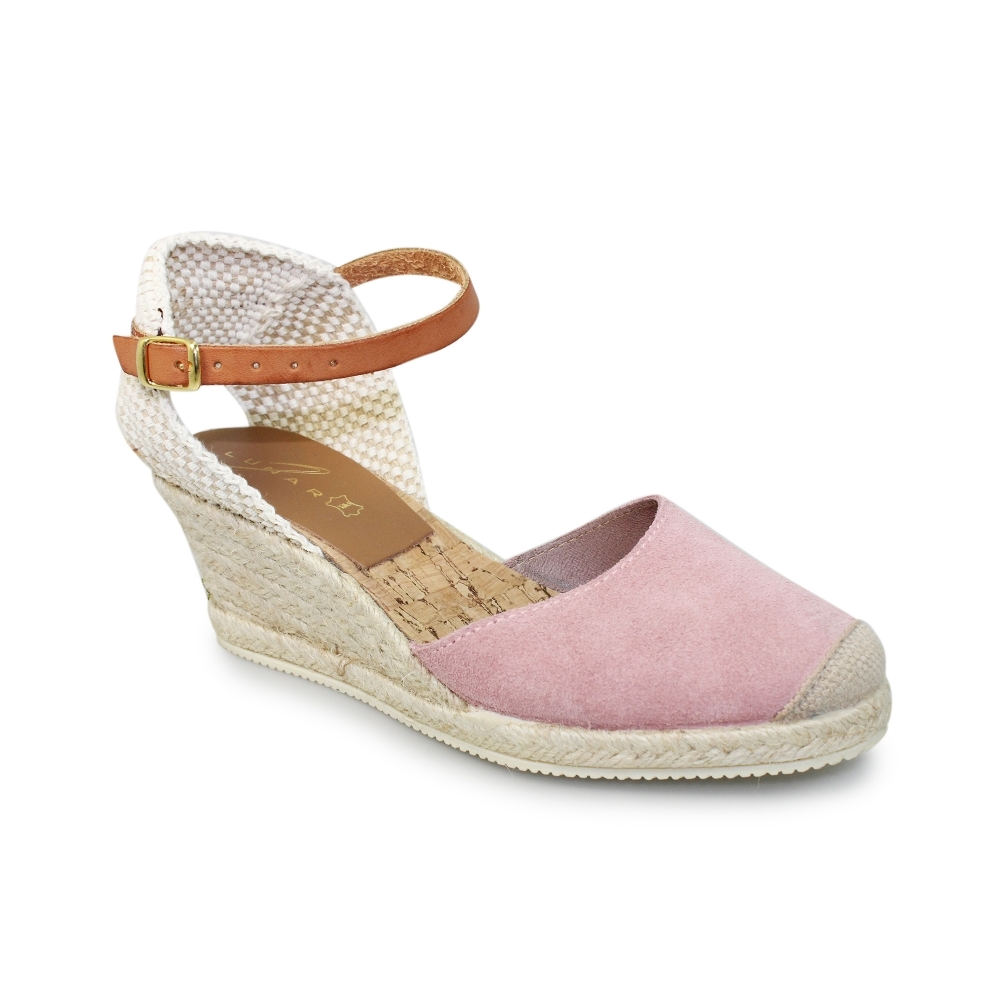 7b82fea864 Lunar Jolie Pink Suede Wedge Sandals - Brooks Shops
