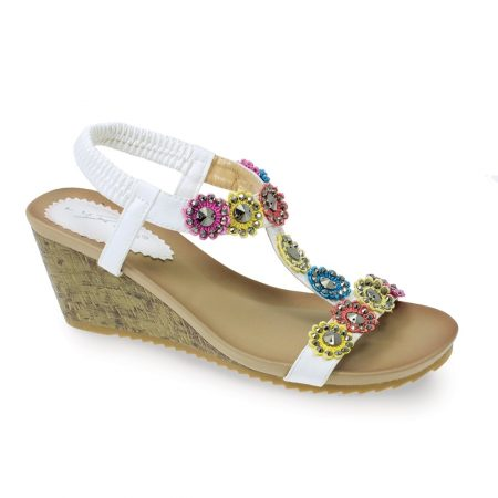 Lunar Anya White Floral Wedge Sandals