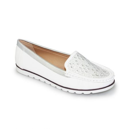 Lunar Paris White Diamante Loafer Shoes