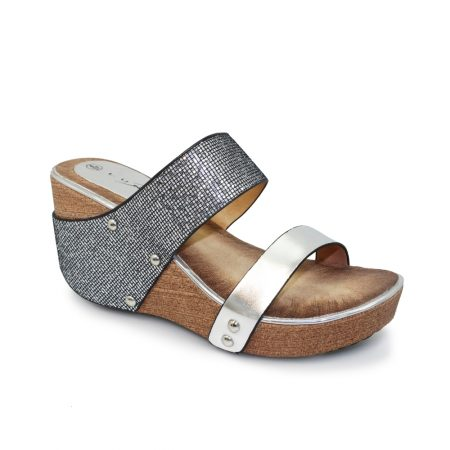 Lunar Ramona Pewter Mule Wedge Sandals