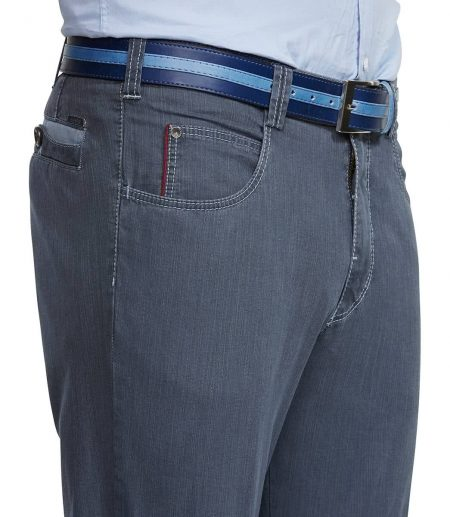 Meyer blue cotton stretch trousers - Diego