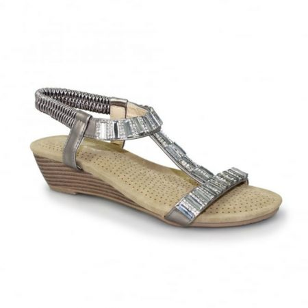 Lunar Reynolds Pewter Wedge Sandals