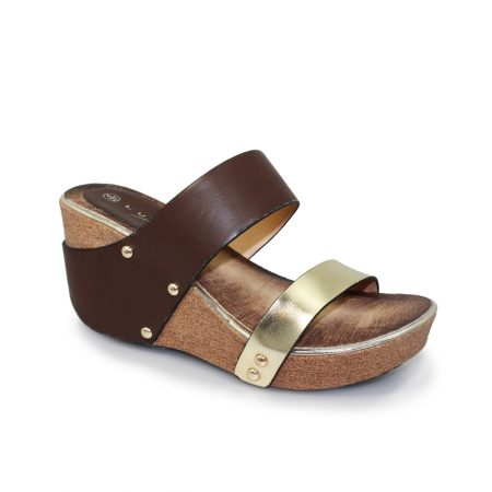 Lunar Yasmin Brown Mule Wedge Sandals