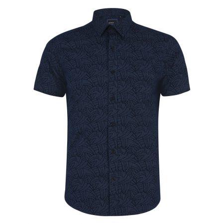 Remus Uomo Dark Blue Short Sleeve Casual Shirt