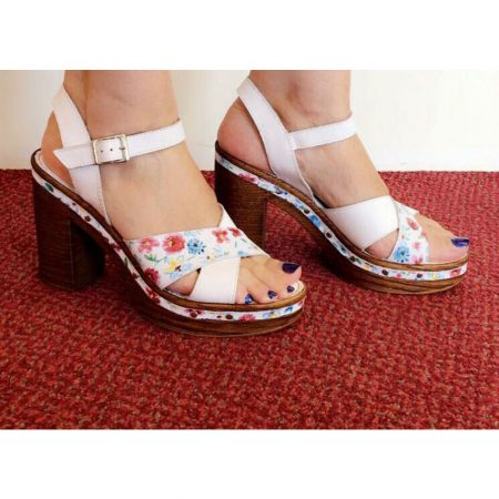 Aeros Me White Floral Leather Heeled Sandals