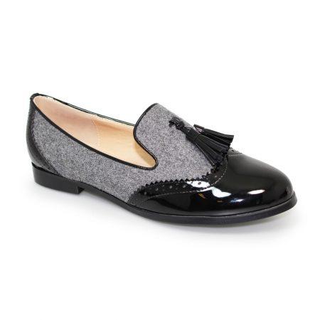 Lunar Francine Grey Felt Brogue Flat Shoes