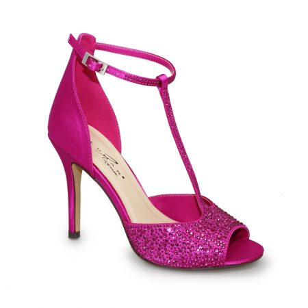 Lunar Ruth Pink Diamante T Bar Heels
