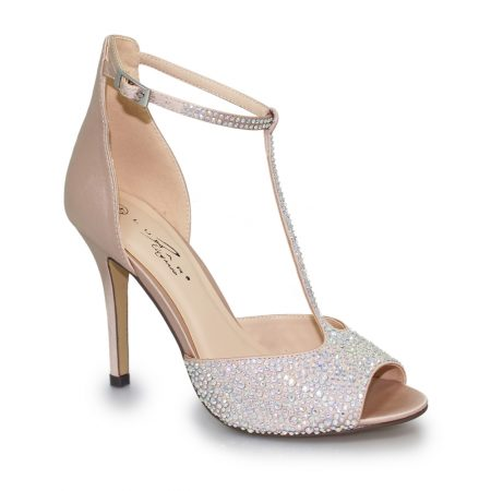 Lunar Ruth Nude Diamante T Bar Heels