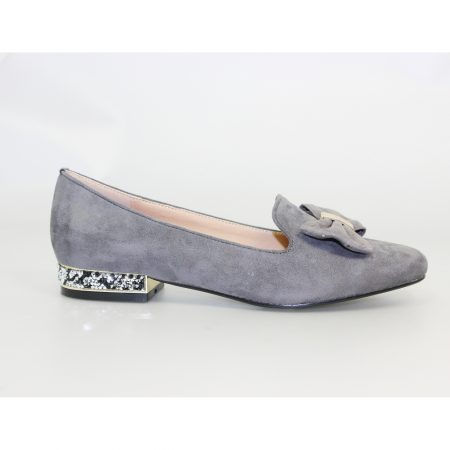 Lunar Rutter Grey Bow Flat Loafer Shoes