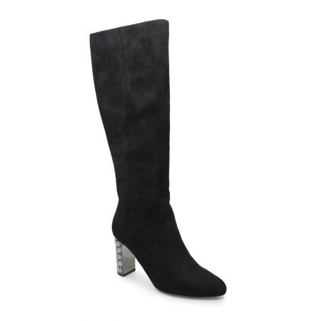 Lunar Santana Black Knee High Heeled Boots