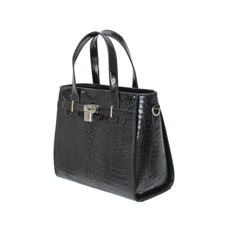 Envy Black Patent Croc Print Handbag