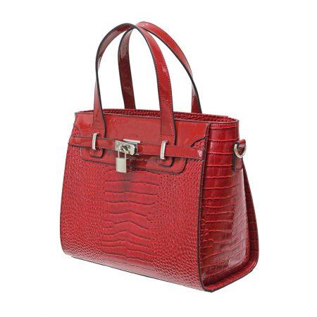 Envy Red Patent Croc Print Handbag
