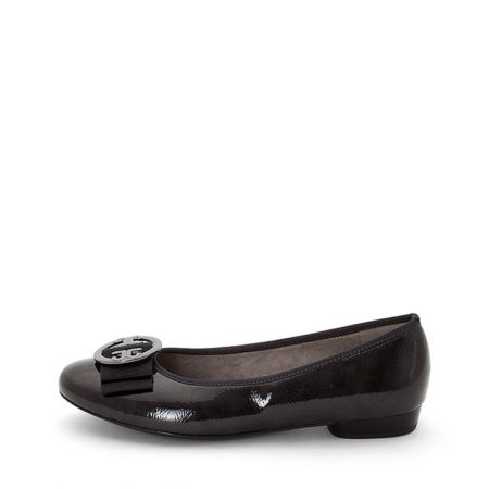 Jenny Ara Pisa Dark Grey Patent Flat Shoes