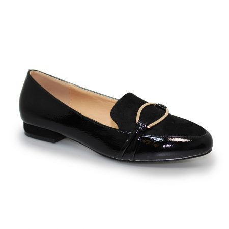 Lunar Asha Black Patent Loafer Flat Shoes