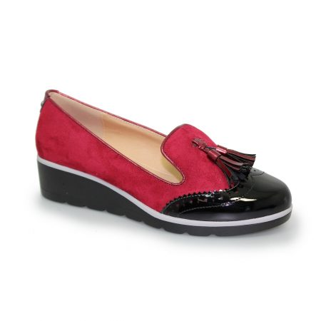 Lunar Karina Burgundy Wedge Loafer Shoes