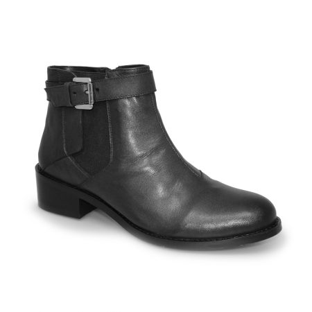 Lunar Leanne Black Leather Ankle Boots