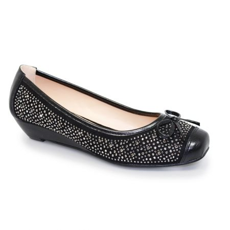 Lunar Zander Black Diamante Wedge Shoes