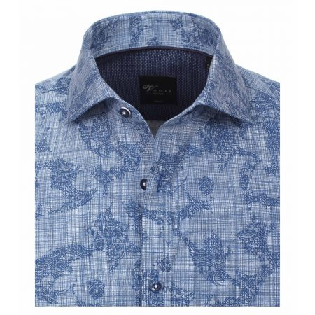 Venti slim fit blue patterned shirt