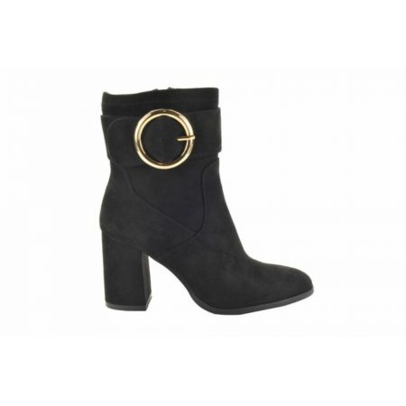 Fabs Black Long Line Heeled Ankle Boots