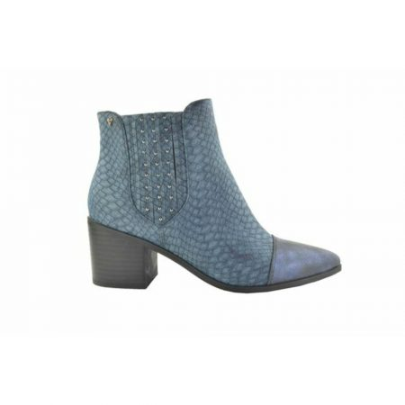 Fabs Blue Snake Print Heeled Ankle Boots