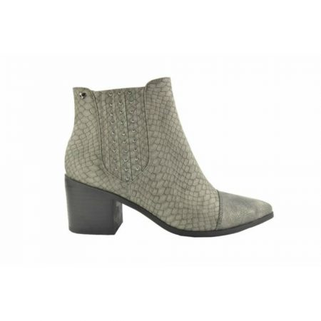 Fabs Grey Snake Print Heeled Ankle Boots