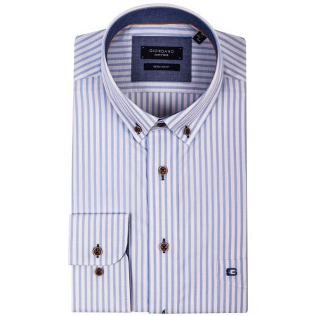 Giordano Blue Striped Long Sleeve Shirt