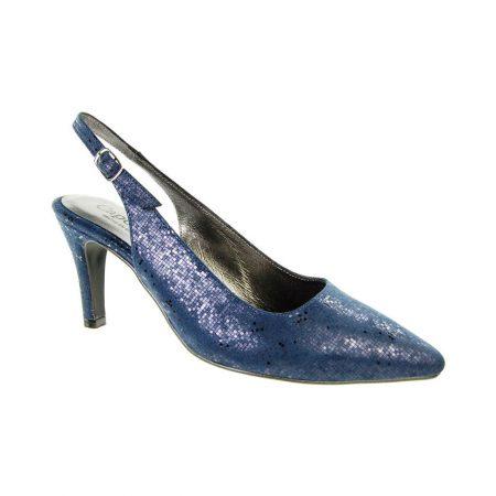 Capollini Erin Navy Print Slingback Heels