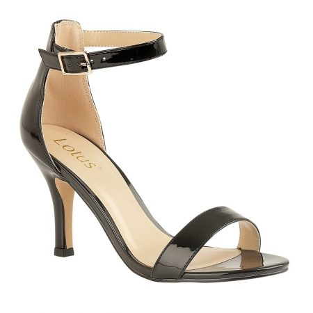 Lotus Aveley Black Patent Heeled Sandals