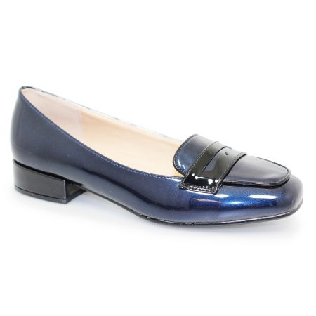 Lunar Janie Navy Patent Loafer Shoes